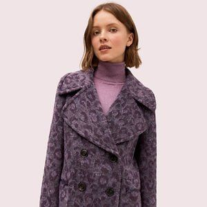 NWT Kate Spade Brushed Leopard Peacoat in Purple